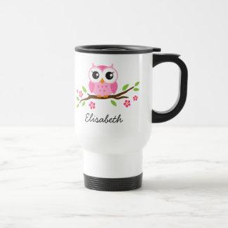 枝名前入りな名前のかわいい、ピンクのフクロウ トラベルマグ