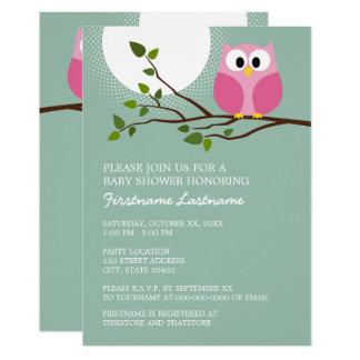 枝女の赤ちゃんのシャワーのかわいいピンクのフクロウ カード