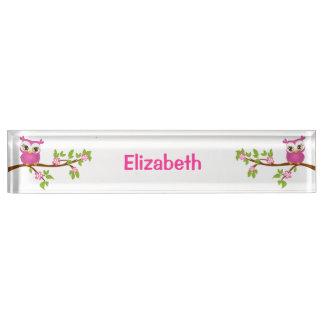 枝机用ネームプレートのかわいいフクロウの女の子 デスクネームプレート