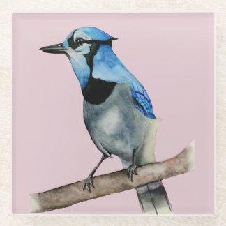 枝水彩画の絵画のアオカケス ガラスコースター