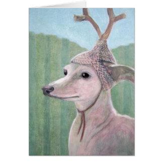 枝角のクリスマスカードを持つ犬 グリーティングカード