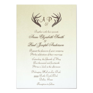 枝角の素朴な結婚式招待状のグラデーションなベージュ色 カード