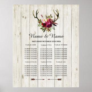 枝角の雄鹿のテーブルの結婚式花ポスター座席 ポスター