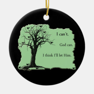 枝-緑-鳥の木-私は神をできます傾けます セラミックオーナメント