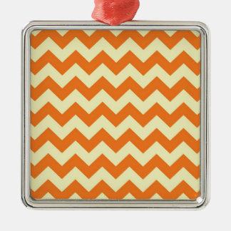 柑橘類のシェブロンのオレンジクリーム色のジグザグ形のストライプなギフト メタルオーナメント