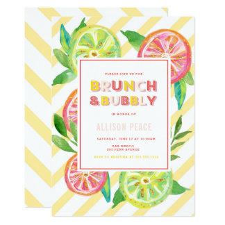 柑橘類のブランチおよび快活なシャワーの招待状 カード