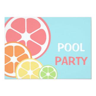 柑橘類のプールを囲んでのパーティ カード