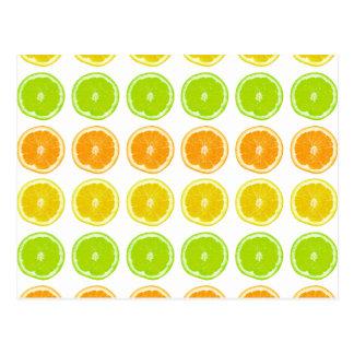 柑橘類のライム、オレンジおよびレモン水玉模様の切れ はがき