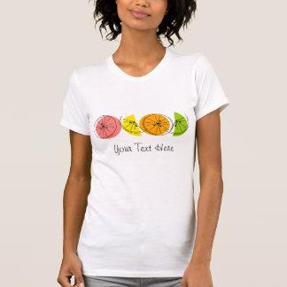柑橘類の女性の「文字」のTシャツ Tシャツ