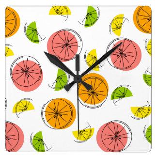 柑橘類の数々のな時計の正方形 スクエア壁時計