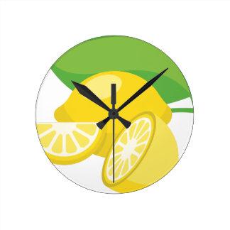 柑橘類レモン ラウンド壁時計