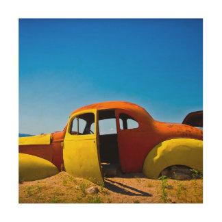 柑橘類車ヴィンテージの1936年のハドソンのオレンジYello ウッドウォールアート