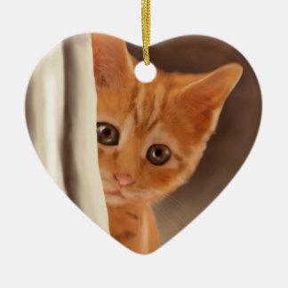 柔らかいショウガの子ネコ セラミックオーナメント