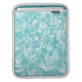 柔らかいハイビスカスの孔雀青の花柄 iPadスリーブ
