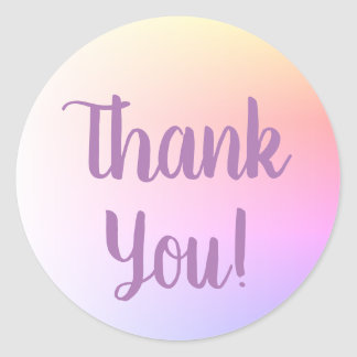 柔らかいパステル調のグラデーションな紫色の書道は感謝していしています ラウンドシール