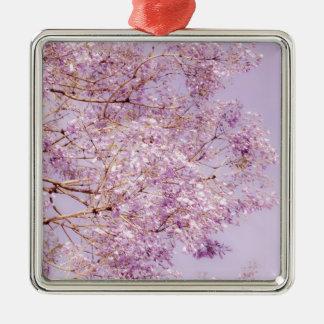 柔らかいパステル調の花の枝 メタルオーナメント