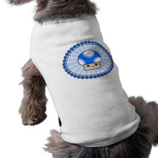 柔らかいパフのかわいいのきのこ青い犬のTシャツ ペット服
