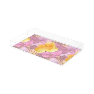 柔らかいピンクによっては黄色バラの小さい虚栄心の皿が開花します アクリルトレー