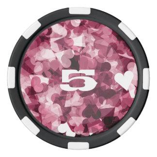 柔らかいピンクのかわいいのハートの背景 ポーカーチップ