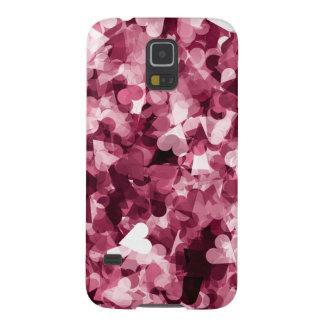柔らかいピンクのかわいいのハートの背景 GALAXY S5 ケース