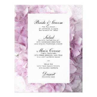 柔らかいピンクのアジサイの結婚式メニュー チラシ