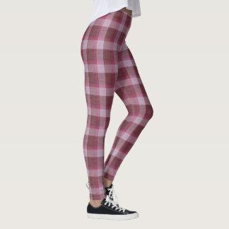 柔らかいピンクのタータンチェック格子縞 レギンス
