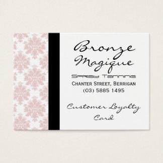 柔らかいピンクのダマスク織の顧客のロイヤリティカード チャビ―名刺