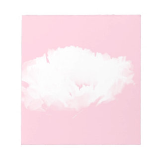 柔らかいピンクの白いシャクヤク花パターンメモ帳 ノートパッド
