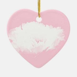 柔らかいピンクの白いシャクヤク-花柄 セラミックオーナメント
