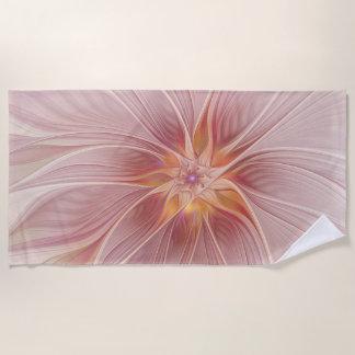柔らかいピンクの花の夢の抽象芸術のモダンの花 ビーチタオル
