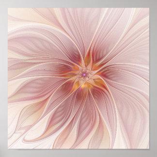 柔らかいピンクの花の夢の抽象芸術のモダンの花 ポスター