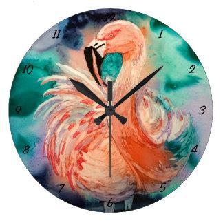 柔らかいフラミンゴ ラージ壁時計