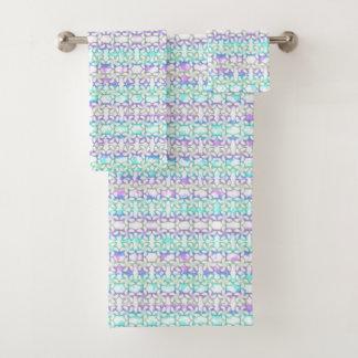 柔らかいプルメリアのピンクのターコイズの紫色の水彩画 バスタオルセット