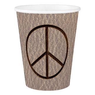 柔らかいレザールックの平和ブラウン 紙コップ