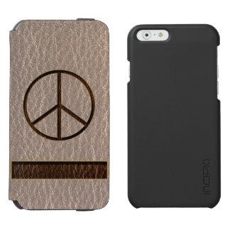 柔らかいレザールックの平和ブラウン iPhone 6/6Sウォレットケース