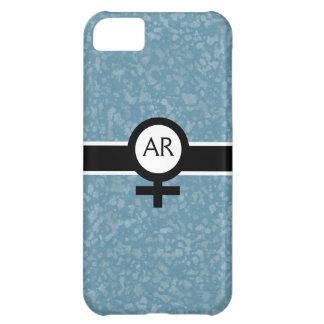 柔らかい水か黒または白+女性の印+あなたのイニシャル iPhone5Cケース