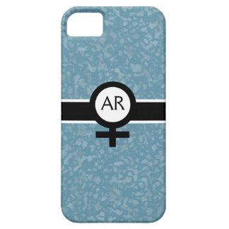 柔らかい水か黒または白+女性の印+あなたのイニシャル iPhone SE/5/5s ケース