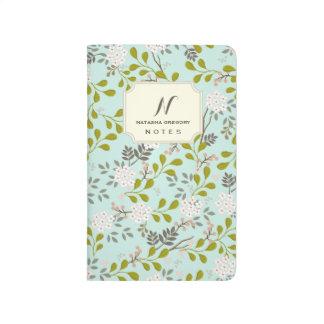 柔らかい水の森林花の名前入りなジャーナル ポケットジャーナル