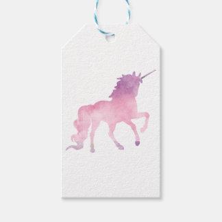 柔らかい水彩画のピンクのユニコーン ギフトタグ
