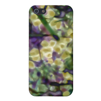 柔らかい水彩画の金ゴールドの紫色の緑のiPhone 5Cのマット iPhone 5 カバー