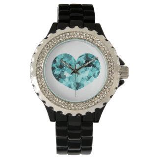 柔らかい空色のかわいいのハートの背景 腕時計