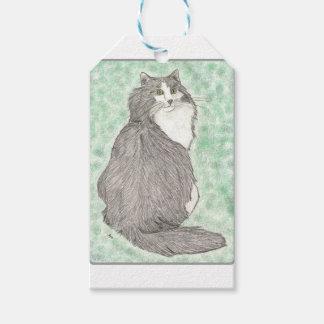 柔らかい緑色の目の猫 ギフトタグ