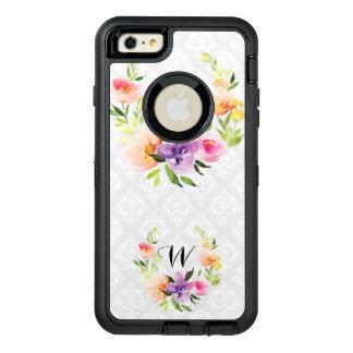 柔らかい色の花のリース及び白い背景 オッターボックスディフェンダーiPhoneケース