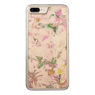 柔らかい花柄、(i)春 carved iPhone 8 plus/7 plus ケース