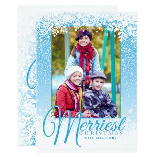 柔らかい雪、メリークリスマスの写真カード カード