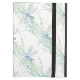 柔らかい青及び緑の芸術の水彩画のトンボ iPad AIRケース