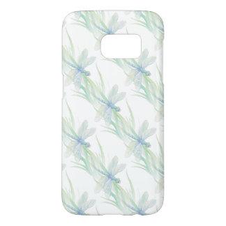 柔らかい青及び緑の芸術の水彩画のトンボ SAMSUNG GALAXY S7 ケース