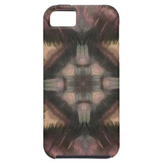 柔らかく柔らかい藤色のティール(緑がかった色)の羽の曼荼羅 iPhone SE/5/5s ケース