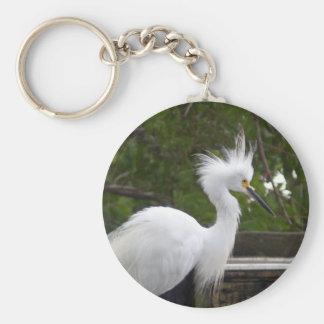 柔らかく白い白鷺の鳥Keychain キーホルダー