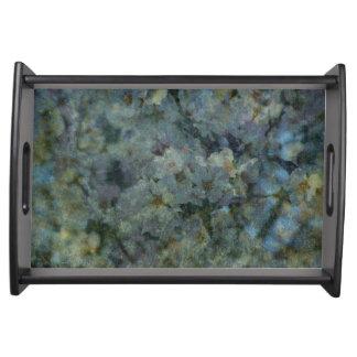 柔らかく青い果樹園の印象派の花の皿 トレー